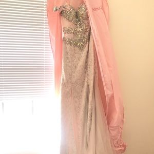 Jovani Ivory Iridescent Dress